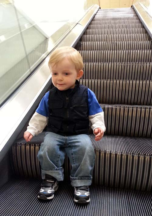 Jaydon's first time on an escalator